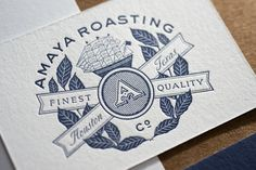 Business Cards for Amaya Roasting Co. One color offset backs, one color letterpress fronts on Crane's 110# Lettra Pearl White.