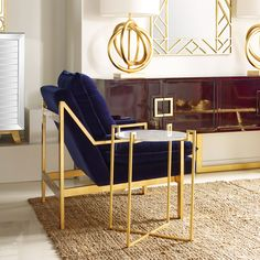 Worlds Away Cameron Gold Leafed Chair Navy Velvet @Zinc_Door