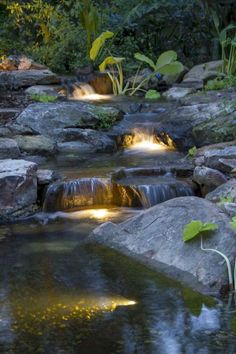 56 Backyard Ponds And Water Garden Landscaping Ideas (19) Koi Pond Design, Backyard Garden Design, Ponds Backyard, Landscape Design, Backyard Waterfalls, Backyard Patio, Koi Ponds, Waterfall Lights, Pond Lights