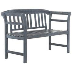 Safavieh Porterville 2 Seat Ash Grey Bench