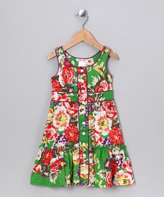 Take a look at this Emerald Rose Button-Up Dress - Toddler & Girls by Baby Nay on #zulily today! #fall