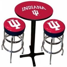Sports Fan Products SFP-1860-IND Indiana Hoosiers Varsity Black Pub Table with Two Bar Stools
