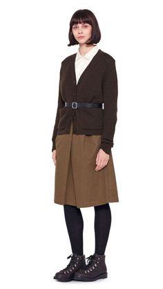 AUTUMN WINTER 2016 COLLECTION - DARK GREEN WOOL  MHL POCKET CARDIGAN, CHALK RAW COTTON  MHL ASYMMETRIC COLLARED SHIRT, KHAKI DRY COTTON DRILL  MHL OVERALL SKIRT, BLACK SADDLE LEATHER SAM BROWNE BELT,  DARK BROWN HEAVY LEATHER MHL HIKING BOOT