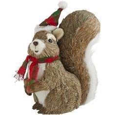 Pier 1 Imports Natural Holiday Squirrel (105 MXN) ❤ liked on Polyvore featuring home, home decor, holiday decorations, christmas, pine cone home decor, christmas stockings, faux fur christmas stocking and christmas holiday decorations