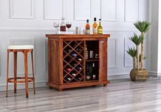Buy Edmis Bar Cabinet (Teak Finish) Online in India - Wooden Street Dining Furniture Sets, Home Bar Furniture, Home Furniture Online, Solid Wood Furniture, Furniture Shopping, 8 Seater Dining Table, Wooden Dining Chairs, Dining Table Set Designs, Almirah Designs