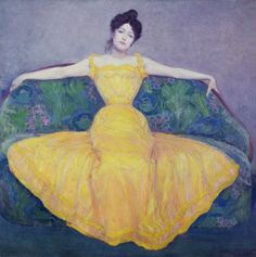 'Lady in a Yellow Dress' Painting Astoria Grand Format: Wrapped Canvas, Size: 100 cm H x cm W x cm D Poster Prints, Framed Prints, Canvas Prints, Art Prints, Big Canvas, Canvas Size, Vienna Museum, National Gallery, Dress Painting