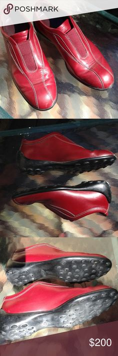 Tod's Genuine Leather Rubber Soled Shoes Gorgeous red leather with rubber soles, excellent condition, very minor & unnoticeable scuff on toe of shoe as pictured Tod's Shoes Flats & Loafers