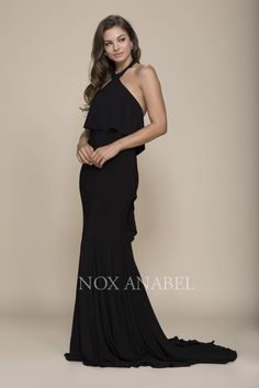 abcb09003c3a Long Prom Gown Formal Evening Dress Train - The Dress Outlet Black Nox  Anabel
