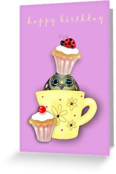 'Happy Birthday Bird in a Teacup' Greeting Card by Cherie Roe Dirksen Cake Birthday, Birthday Cards, Happy Birthday Birds, Teacup Cake, Print Store, Kraft Envelopes, Cute Cards, Gifts For Girls, Tea Cups