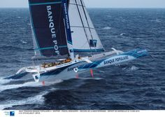 Fastest offshore sailing yacht on earth is a multihull. 45 days around the world non stop says it all. Banque Populaire G-class trimaran is a 140ft long monster that fly hulls and reaches 45 knots plus. Amazing boat and an amaizing crew having Loick Peyron as skipper!