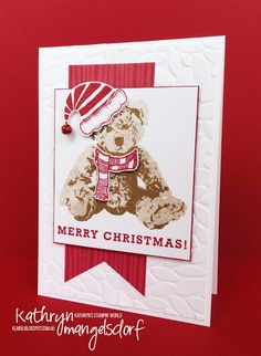 Stampin' Up! Jolly Friends, Jolly Hat & Baby Bear, Christmas Card designed by Kathryn Mangelsdorf