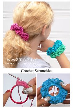 How to Crochet Scrunchies - Naztazia ® A hair scrunchie is pretty easy to make with yarn, a crochet hook, and a hair elastic. This crochet pattern is one I used to create scrunchies back in the Crochet Hair Bows, Crochet Hair Accessories, Crochet Hair Styles, Crochet Flowers, Crochet Flower Headbands, Knit Headband, Baby Headbands, Crochet Hooks, Knit Crochet