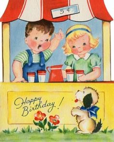 birthday card, child birthday, vintag card, happi birthday