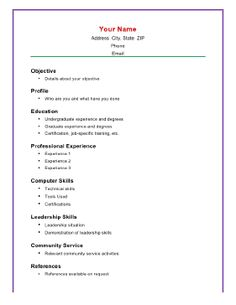 This printable resume template puts the emphasis on academic achievement and knowledge and lets Simple Resume Examples, Simple Resume Format, Simple Resume Template, Resume Design Template, Resume Templates, Invoice Template, Templates Free, Computer Skills Resume, Resume Skills