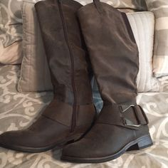 Maurices boots Brown soft faux leather.... never been worn Maurices Shoes Winter & Rain Boots