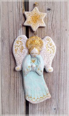 Christmas decoration angel figurine star handmade tree wings vintage antique doll ornament holiday xmas ideas