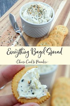 Everything Bagel Spread is Everything BUT the Bagel. Perfect for Crackers, Veggies, and BAGELS. This is a Quick and Well Loved Appetizer. Cream Cheese Spreads, Cream Cheese Recipes, Bagel Dip, Bagel Toppings, Yummy Food, Tasty, Everything Bagel, Appetizer Recipes, Quick Appetizers