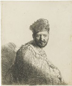 Rembrandt Harmenszoon van Rijn, Bearded Man, in a Furred Oriental Cap and Robe, Etching and engraving on paper. Rembrandt Etchings, Rembrandt Drawings, Rembrandt Art, Harvard Art Museum, Short Beard, Dutch Painters, Old Master, Modern Prints, Bearded Men