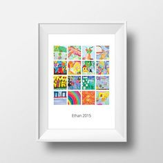 Kids artwork display as a contemporary collage poster. Ideal for kids rooms, your office, or grandma's house. A collection of your favorite arts project and crafts showcased on a unique display create from your child's artwork. Best creative gifts for Displaying Kids Artwork, Artwork Display, Unique Gifts For Kids, Creative Gifts, Personalized Wall Decor, Deco Kids, Childrens Artwork, Modern Prints, Modern Art