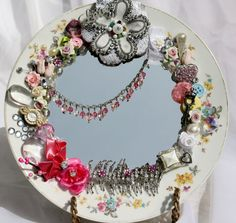 Vintage China Plate Mirror Embellished by TheGlitterboxLC on Etsy, $45.00