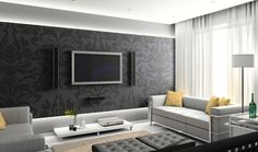 Natursteinwand Verblendsteine im Wohnzimmer und schwarzer Lowboard ...