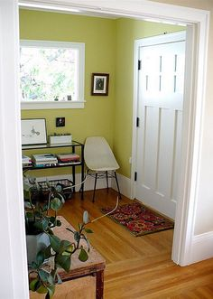 [Real homes] Green foyer painted Benjamin Moore's 'Pale Avocado' - [Real hom. [Real homes] Green foyer painted Benjamin Moore's 'Pale Avocado' – [Real homes] Green f Room Colors, Foyer Design, Decor, Green Bedroom Paint, Bedroom Green, Home, Interior, Green Bedroom Walls, Home Decor