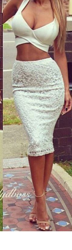 White cropped top with skirt HAWT