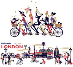""""""" Welcome to London """" by Malika Favre. Wallpaper illustrations commisionned by Hudsons for their Fitzrovia office."""