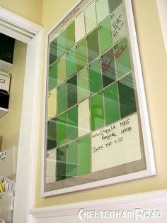 Paint chips + poster frame = dry erase calendar!
