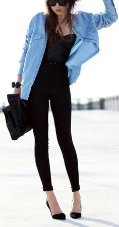 Black + chambray.
