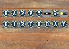 Police Birthday Banner Printable by TwirlyDesigns on Etsy