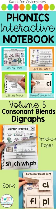 Practice consonant blends and digraphs with picture sorts, spelling, and sort by color all in an interactive notebook! Great for Kindergarten and 1st Grade phonics lessons or centers!