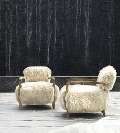 Inspired by relaxed outdoor lounging, the generously proportioned Cabana chair is clad in a choice of premium finishes, offset by rustic Weathered Oak legs. Choose from the fresh feel of linen, the vintage look of hand-distressed leather or luxuriously thick long- haired New Zealand sheepskin, carefully selected for its shaggy, rugged look and soft hand feel. #timothyoulton #elegance #elegantinteriors #dawsonandco