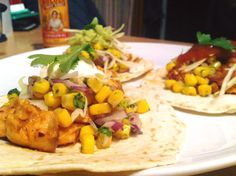 Fish tacos - salmon (got this to absolute melt in mouth perfection), shredded white cabbage, sweetcorn relish, guac, salsa, sour cream.