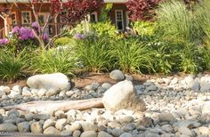 Create a beautiful and low maintenance garden incorporating river rock; landscaping with a dry stream and using river rock to accent your garden. River Rock Landscaping, Landscaping With Rocks, Backyard Landscaping, Landscaping Ideas, Backyard Ideas, Patio Ideas, Dessert Landscaping, Backyard Layout, Luxury Landscaping