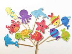 Ocean Friends Cupcake toppers by DianasDen on Etsy