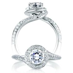 Signature Spiral Halo diamond engagement ring.