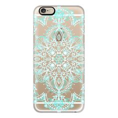 iPhone 6 Plus/6/5/5s/5c Case - Aqua and White Lace Mandala -... ($40) ❤ liked on Polyvore featuring accessories, tech accessories, phone, phone cases, cases, tech, iphone case, transparent iphone case, iphone cover case and apple iphone cases
