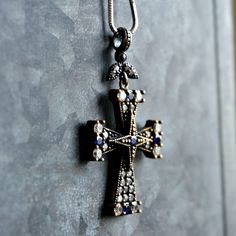 Blue Zircon Cross Pendant