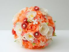 Paper Flower Bouquet  Peach and Ivory