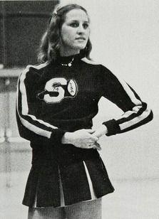 An unnamed cheerleader in the 1974 yearbook of Sonora High School in La Habra, California.  #Sonora #LaHabra #Vencedor #yearbook #1974