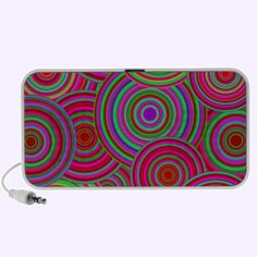 Pink and Green Retro Circles Pattern Travelling Music Speakers $44.95