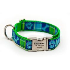 Rita Bean Engraved Buckle Personalized Dog Collar - Prep School Madras (Blue/Green) - Medium -- Find out more about the great product at the image link. (This is an affiliate link) #CollarsHarnessesLeashes