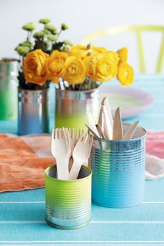Restyle, re-create and recycle tin cans to make cute cutlery canisters. Spend an afternoon updating old, empty tin cans...