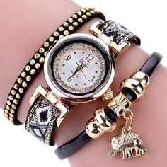 DUOYA Fashion Quartz Wristwatch Multilayer Leather Strap Elephant Pendant Bracelet Watch for Women is hot-sale, waterproof watches, bracelet watch, and more other cheap women watches are provided on NewChic. Ladies Bracelet Watch, Gold Fashion, Style Fashion, Watch Brands, Watches For Men, Nice Watches, Stylish Watches, Elephant, Leather