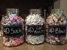 For my birthday party! Suckers for 40 Sucks bubble gum for 40 Blows and Hershey Kisses for 40 Can Kiss It. The post For my birthday party! Suckers for 40 Sucks bubble gum for 40 Blows appeared first on Decoration. 40th Birthday Party For Women, 40th Party Ideas, 40th Bday Ideas, 70th Birthday Parties, 50th Party, Birthday Woman, Birthday Celebration, Diy 40th Birthday Decorations, 50th Birthday Themes