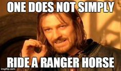 One does not simply ride a ranger horse. -- Yay!! I'm happy there's a Rangers Apprentice fandom out there!!!<<<>>>OH MY GOD I AM SO HAPPY IM NOT THE ONLY ONE I SO WANT TO MEET THIS PERSON