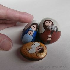 Small Stylized Painted Rock Nativity Figures