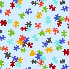 Anti- Pill Fleece Fabric- Tossed Puzzle Piece