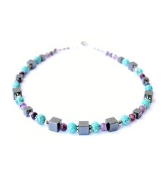 """Necklace with hematite, agate and turquoise from Collection """"Fenja"""" by Ostfriesenkind"""